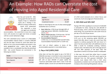 Lillians example - RAD and DAP payment for aged care